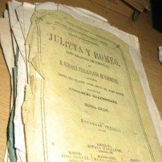 Libros antiguos: ENTREGAS FASCICULOS JULIETA Y ROMEO , LOS AMANTES DE VERONA . E, VILLALPANDO .2 EDICION - ED ESPASA. Lote 294479878