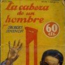 Libros antiguos: LA NOVELA AVENTURA - SIMENON : LA CABEZA DE UN HOMBRE (1934). Lote 35860451