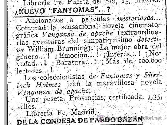 Libros antiguos: DETECTIVE WILLIAM BRUNNING 6, EL SECRETO DE SUSANA. FELIPE PÉREZ CAPO. ¿ PASTICHE HOLMES ? 1918 ++++ - Foto 4 - 42162262