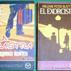 Libros antiguos: DOS LIBROS, EL EXORCISTA DE WILLIAM PETER BLATTY Y LA RASTRA DE DOMINGO MANFREDI, DE PLAZA Y JANES. Lote 44011958
