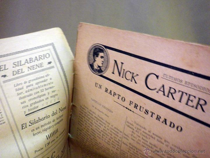 Libros antiguos: COMIC, NICK CARTER, Nº 61, EDITORIAL SOPENA, UN RAPTO FUSTRADO, ORIGINAL - Foto 3 - 44041848