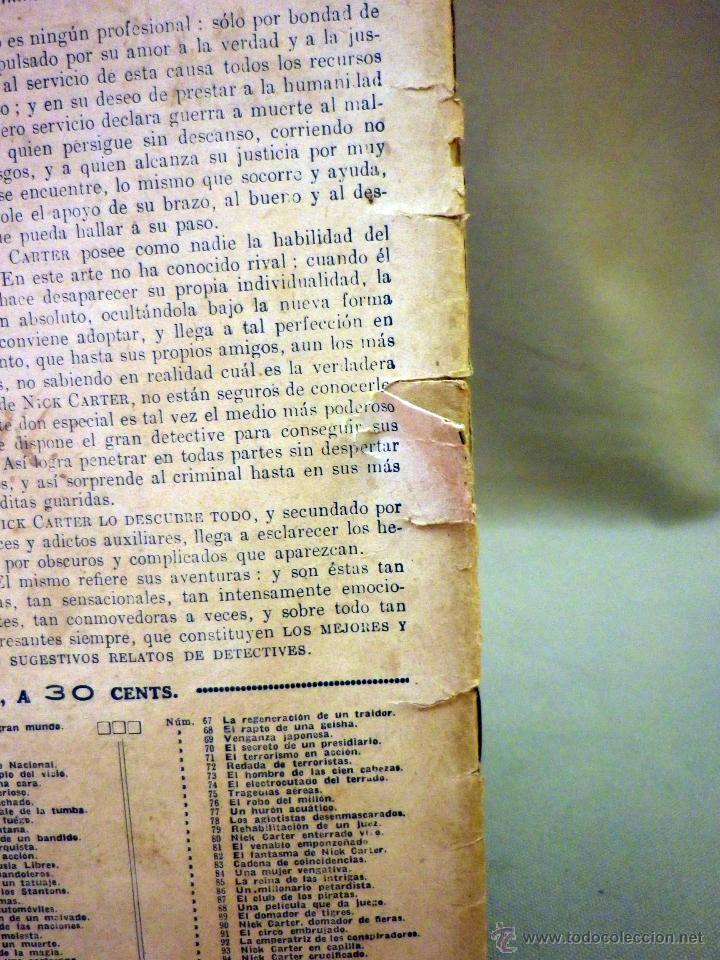 Libros antiguos: COMIC, NICK CARTER, Nº 61, EDITORIAL SOPENA, UN RAPTO FUSTRADO, ORIGINAL - Foto 4 - 44041848