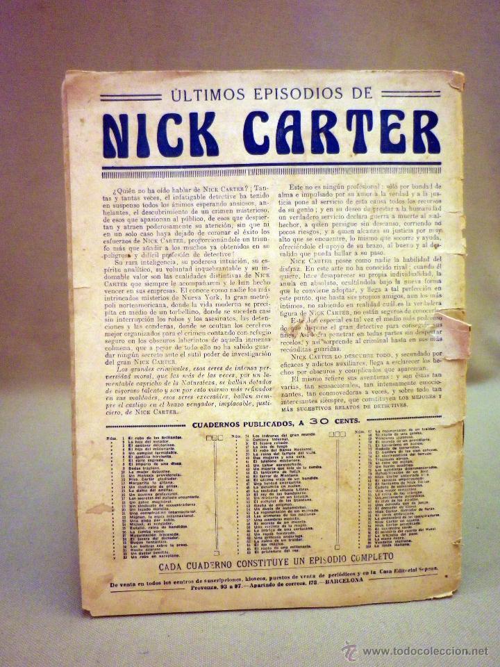 Libros antiguos: COMIC, NICK CARTER, Nº 61, EDITORIAL SOPENA, UN RAPTO FUSTRADO, ORIGINAL - Foto 5 - 44041848