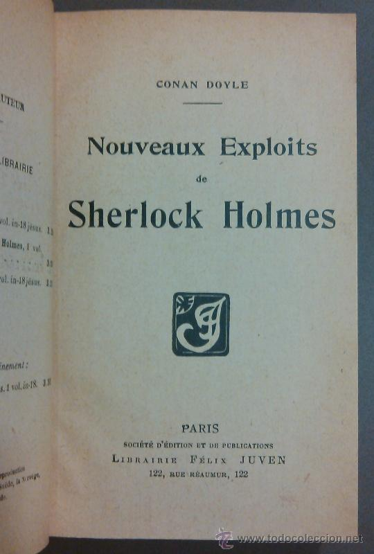 Libros antiguos: Nouveaux exploits de Sherlock Holmes (Arthur Conan Doyle) Félix Juven Ed. 1907. En francés! Rareza!! - Foto 2 - 44687406