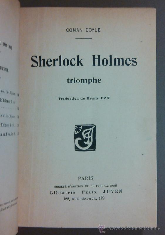 Libros antiguos: Sherlock Holmes triomphe (Arthur Conan Doyle) Félix Juven Ed. 1906. En francés! Rareza!! - Foto 2 - 44687475