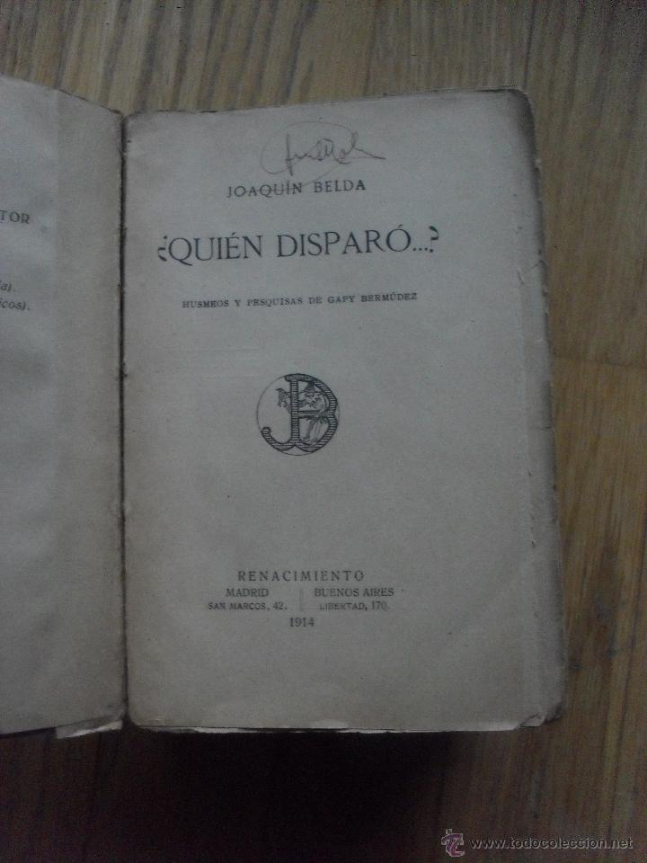 Libros antiguos: QUIEN DISPARO, Joaquin Belda - Foto 2 - 50365696