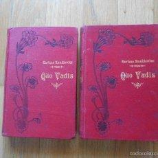 Libros antiguos: QUO VADIS, ENRIQUE SIENKIEWICZ, VERSION ESPAÑOLA 2 TOMOS, EDITORIAL MAUCCI. Lote 58239625