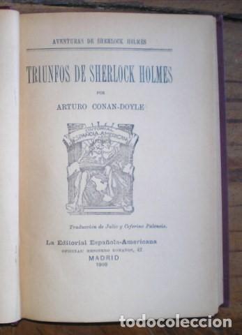 Libros antiguos: CONAN DOYLE, Arthur: TRIUNFOS DE SHERLOCK HOLMES. 1907 - Foto 2 - 68977873