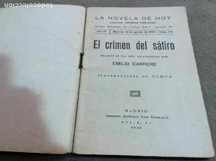 Libros antiguos: El crimen del sátiro. - Foto 2 - 78356985