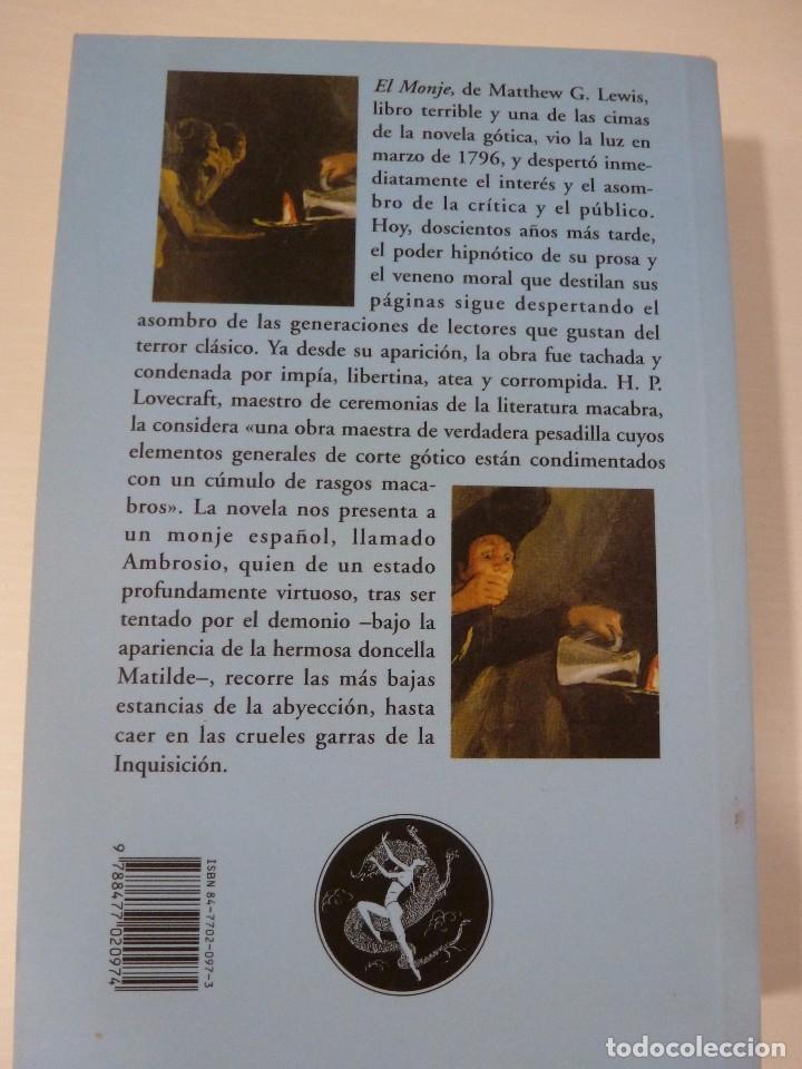 Libros antiguos: EL MONJE. MATTHEW G. LEWIS. VALDEMAR EL CLUB DIÓGENES - Foto 2 - 103837911