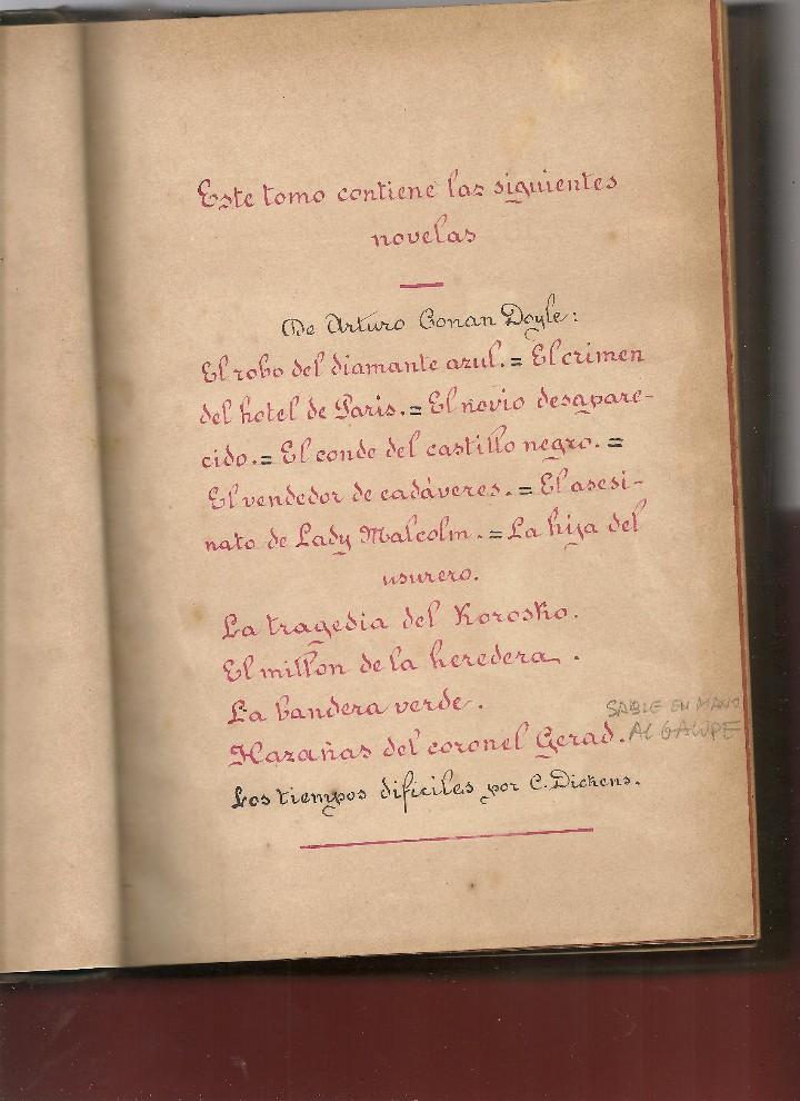 Libros antiguos: CONAN DOYLE,Arthur ,recuerdos de Sherlock Holmes, EL ROBO DEL DIAMANTE AZUL, EL CRIMEN , 12 obras - Foto 3 - 104385155