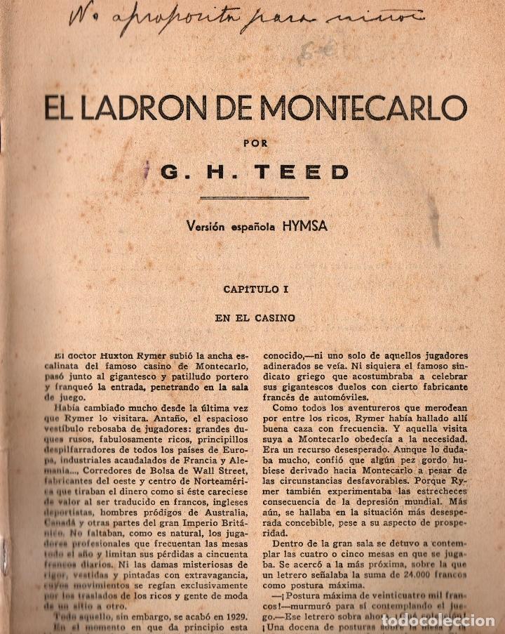 Libros antiguos: EL LADRÓN DE MONTE-CARLO. G. H. TEED. LA NOVELA AVENTURA, 1934. - Foto 2 - 111215623