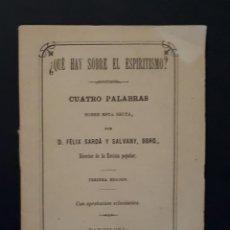 Libros antiguos: ESPIRITISMO CUATRO PALABRAS SOBRE ESTA SECTA BARCELONA 1880. Lote 116801495