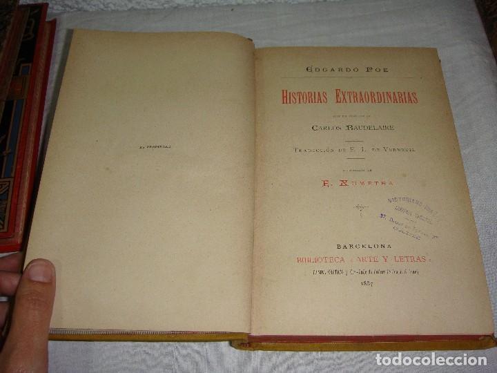 Libros antiguos: Historias Extraordinarias. Edgardo Poe. Con ilustraciones. Arte y Letras - 1887 - Foto 3 - 122366467