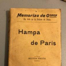 Libros antiguos: MEMORIAS DE GORON HAMPA EN PARIS. Lote 132045662