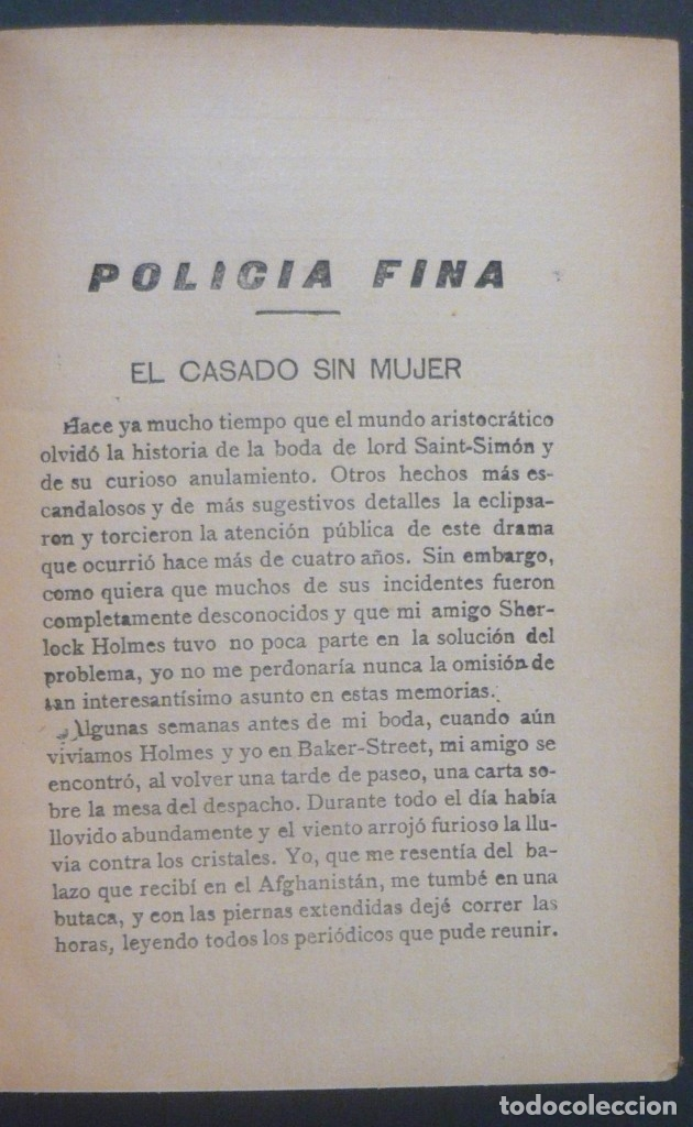 Libros antiguos: 1909 - Arturo Conan-Doyle: Policía Fina. Aventuras de Sherlock Holmes - Encuadernación, Tela - Foto 4 - 137562562
