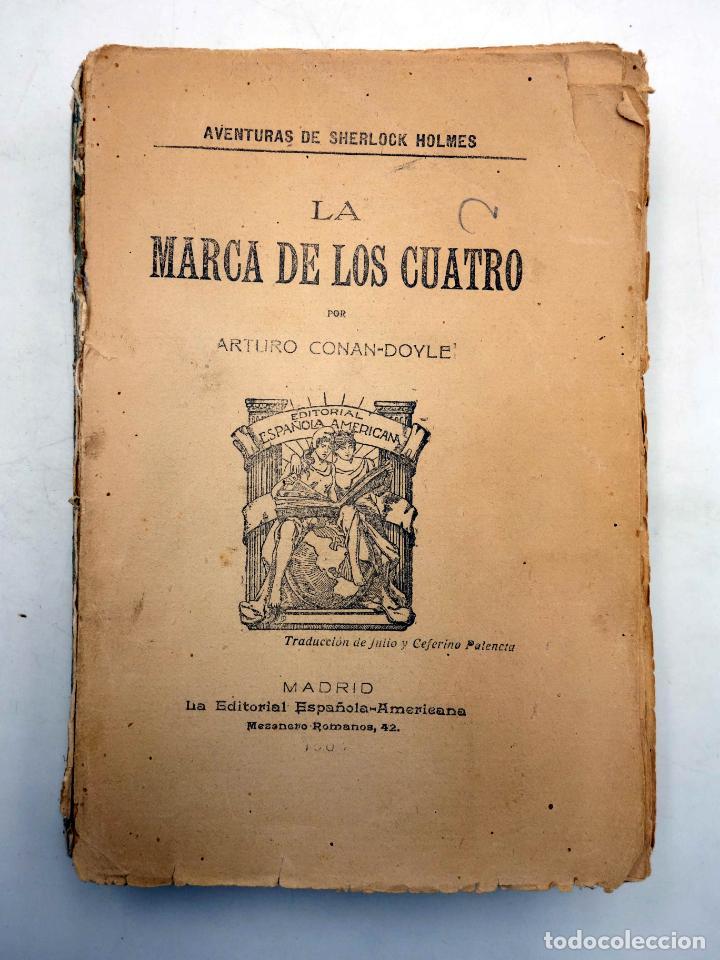 Libros antiguos: AVENTURAS DE SHERLOCK HOLMES. LA MARCA DE LOS CUATRO (Arturo Conan Doyle) Española Americana, 1907 - Foto 6 - 139867148