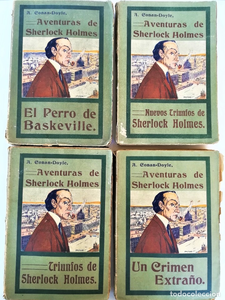 SHERLOCK HOLMES,4 NOVELAS AÑO 1909,MAS DE 110 AÑOS,DE ARTHUR CONAN DOYLE,EL PERRO DE BASKERVILLE,MAS (Libros antiguos (hasta 1936), raros y curiosos - Literatura - Terror, Misterio y Policíaco)