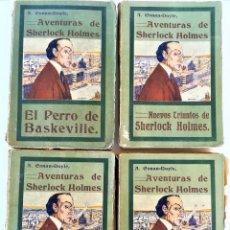 Libros antiguos: SHERLOCK HOLMES,4 NOVELAS AÑO 1909,MAS DE 110 AÑOS,DE ARTHUR CONAN DOYLE,EL PERRO DE BASKERVILLE,MAS. Lote 177404487