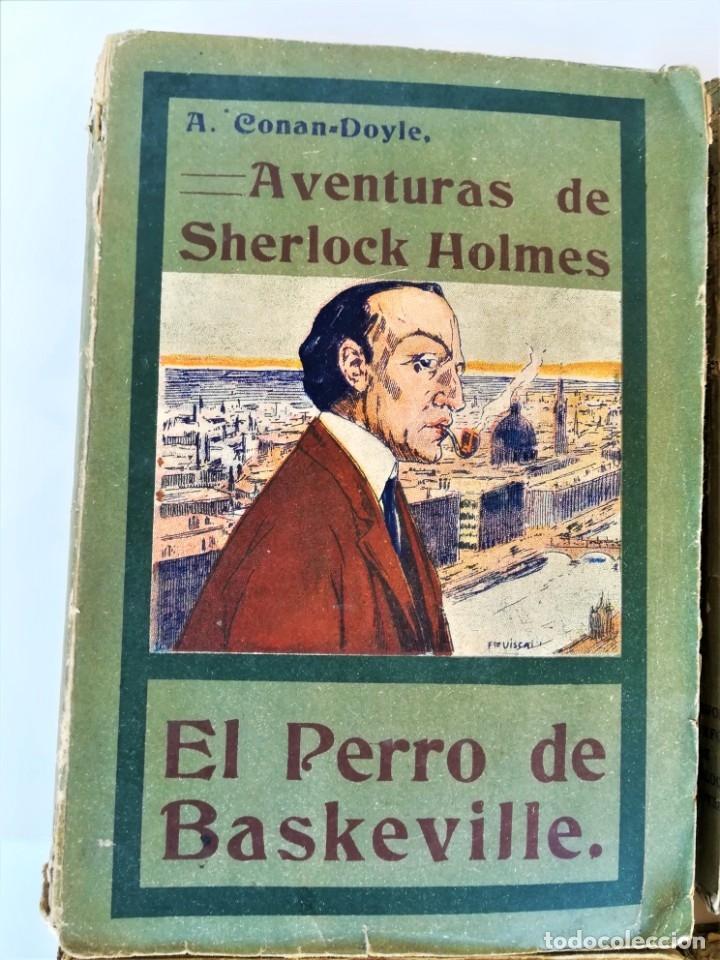 Libros antiguos: SHERLOCK HOLMES,4 NOVELAS AÑO 1909,MAS DE 110 AÑOS,DE ARTHUR CONAN DOYLE,EL PERRO DE BASKERVILLE,MAS - Foto 3 - 177404487