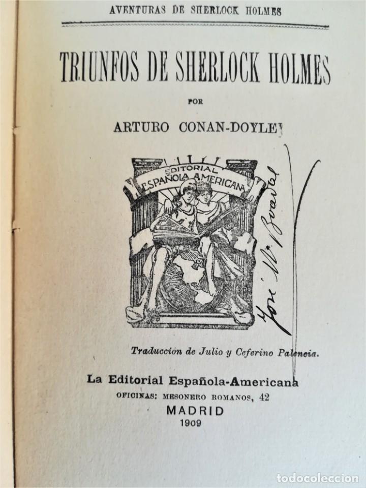 Libros antiguos: SHERLOCK HOLMES,4 NOVELAS AÑO 1909,MAS DE 110 AÑOS,DE ARTHUR CONAN DOYLE,EL PERRO DE BASKERVILLE,MAS - Foto 8 - 177404487