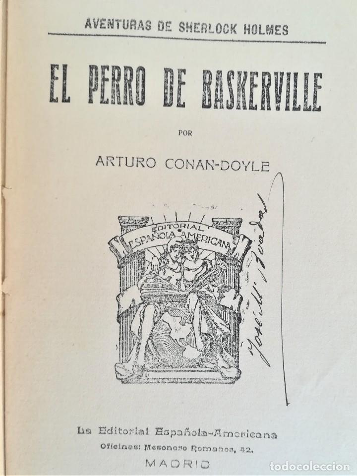 Libros antiguos: SHERLOCK HOLMES,4 NOVELAS AÑO 1909,MAS DE 110 AÑOS,DE ARTHUR CONAN DOYLE,EL PERRO DE BASKERVILLE,MAS - Foto 11 - 177404487