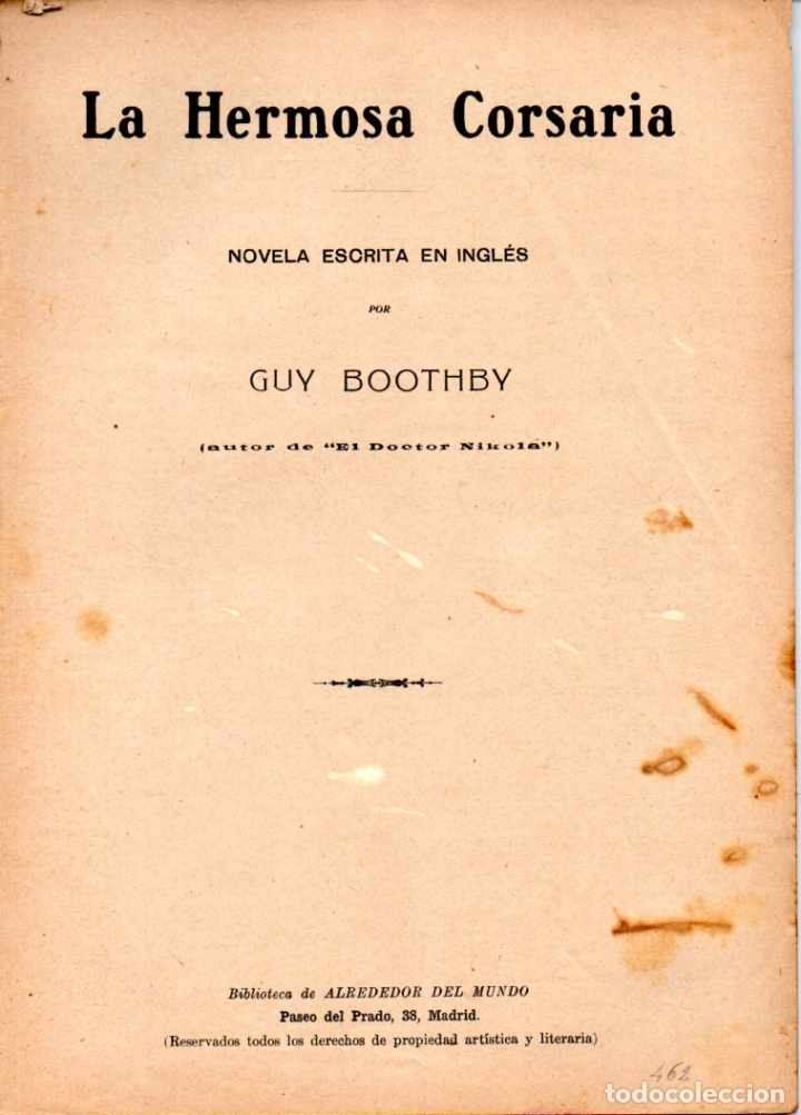 GUY BOOTHBY : LA HERMOSA CORSARIA (ALREDEDOR DEL MUNDO, C. 1920) (Libros antiguos (hasta 1936), raros y curiosos - Literatura - Terror, Misterio y Policíaco)