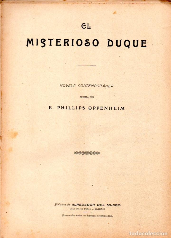 E. PHILLIPS OPPENHEIM : EL MISTERIOSO DUQUE (ALREDEDOR DEL MUNDO, C. 1920) (Libros antiguos (hasta 1936), raros y curiosos - Literatura - Terror, Misterio y Policíaco)