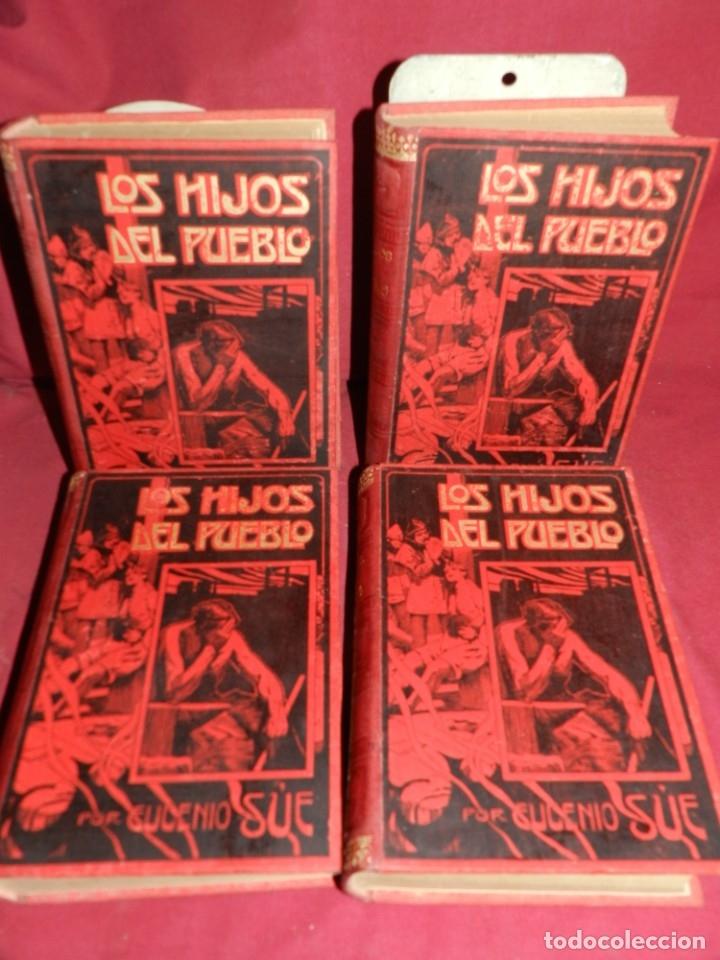(MF) EUGENIO SUE - LOS HIJOS DEL PUEBLO, ILUSTRADO POR GASPAR CAMPS ( 4 VOLS. COMPLETO) (Libros antiguos (hasta 1936), raros y curiosos - Literatura - Terror, Misterio y Policíaco)