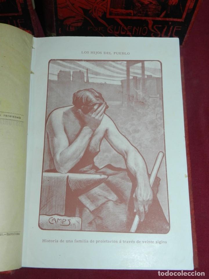 Libros antiguos: (MF) EUGENIO SUE - LOS HIJOS DEL PUEBLO, ILUSTRADO POR GASPAR CAMPS ( 4 VOLS. COMPLETO) - Foto 2 - 181036272