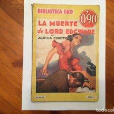 Libros antiguos: NOVELA POLICIACA, BIBLIOTECA ORO,AÑO 1934 POR AGATHA CHIRSTIE Nº 23 ILUSTRADA 1ª EDICION. Lote 194072375