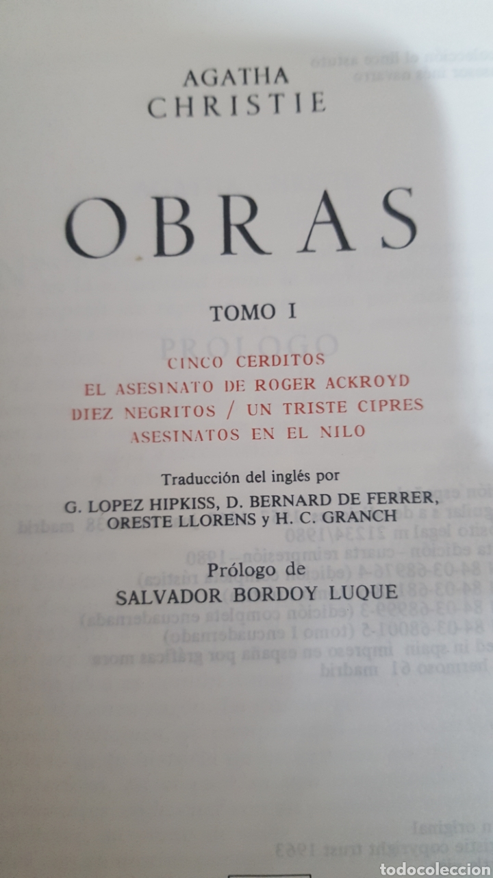 Libros antiguos: AGATHA CHRISTIE: OBRAS ESCOGIDAS, tomos 1, 2 y 3 Lince astuto y Obras tomo I de Aguilar. - Foto 3 - 194610601