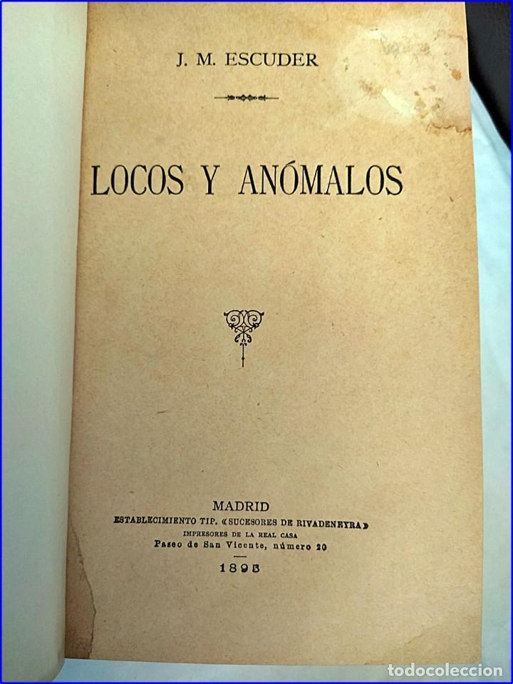 Libros antiguos: Año 1895: Locos y anómalos. Raro libro español sobre asesinatos. Siglo XIX. - Foto 2 - 195136127