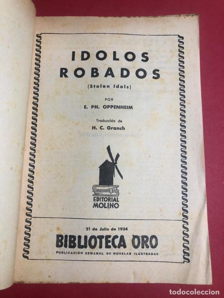 "Libros antiguos: Novela ilustrada ""Ídolos Robados"". Biblioteca oro. Ed. Molino. - Foto 2 - 227870935"