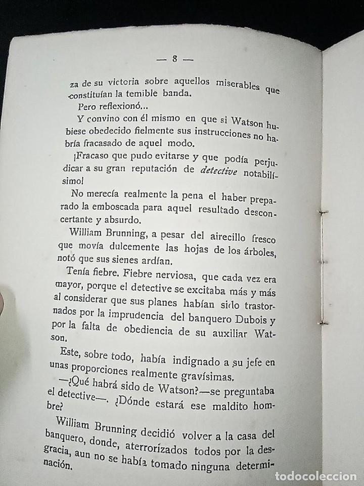 Libros antiguos: AVENTURAS DEL DETECTIVE WILLIAM BRUNNING 3, OLGA LA TRAIDORA. FELIPE PÉREZ CAPO. ¿ PASTICHE HOLMES ? - Foto 8 - 42162220