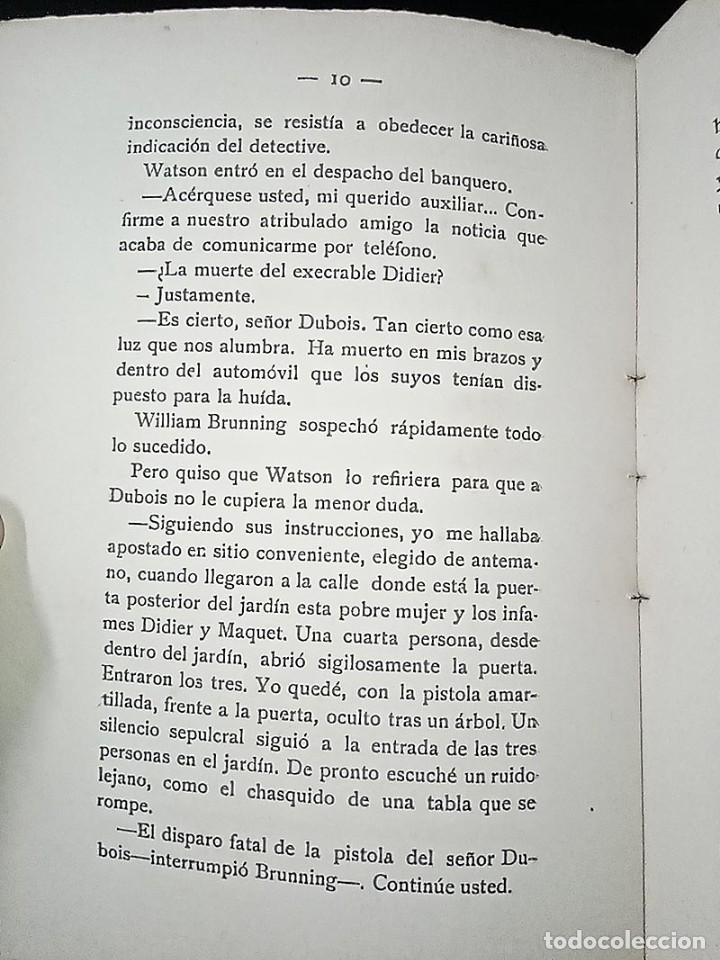 Libros antiguos: AVENTURAS DEL DETECTIVE WILLIAM BRUNNING 3, OLGA LA TRAIDORA. FELIPE PÉREZ CAPO. ¿ PASTICHE HOLMES ? - Foto 10 - 42162220