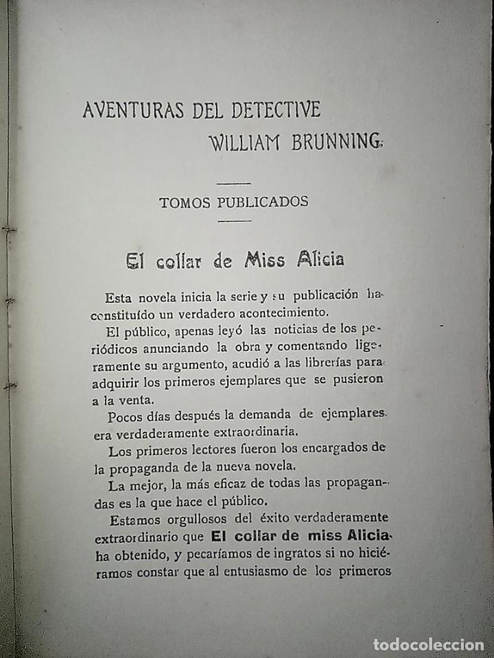 Libros antiguos: AVENTURAS DEL DETECTIVE WILLIAM BRUNNING 3, OLGA LA TRAIDORA. FELIPE PÉREZ CAPO. ¿ PASTICHE HOLMES ? - Foto 15 - 42162220