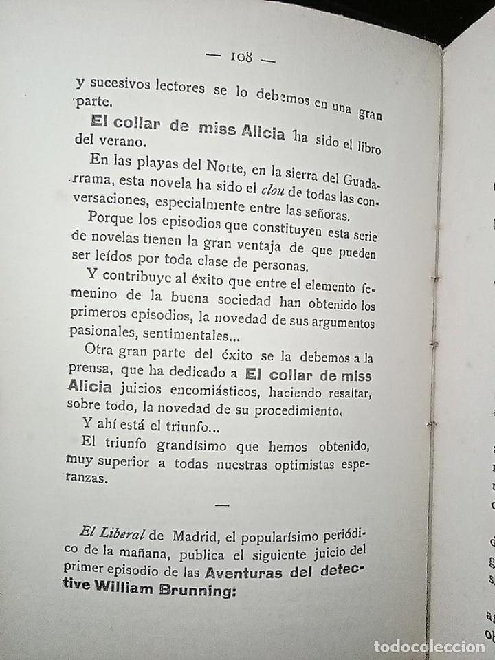 Libros antiguos: AVENTURAS DEL DETECTIVE WILLIAM BRUNNING 3, OLGA LA TRAIDORA. FELIPE PÉREZ CAPO. ¿ PASTICHE HOLMES ? - Foto 16 - 42162220