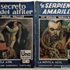Libros antiguos: LOTE 2 NOVELA AZUL EDGAR WALLACE SERPIENTE AMARILLA Y SECRETO DEL ALFILER 1935. Lote 288880478