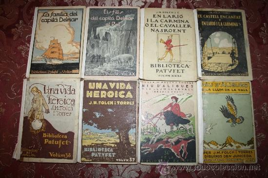 0849- LOTE DE 8 NOVELAS DE LA BIBLIOTECA PATUFET - VOLUMENES 19, 20, 31, 32, 35, 36, 37 Y 38 (Libros Antiguos, Raros y Curiosos - Literatura Infantil y Juvenil - Novela)