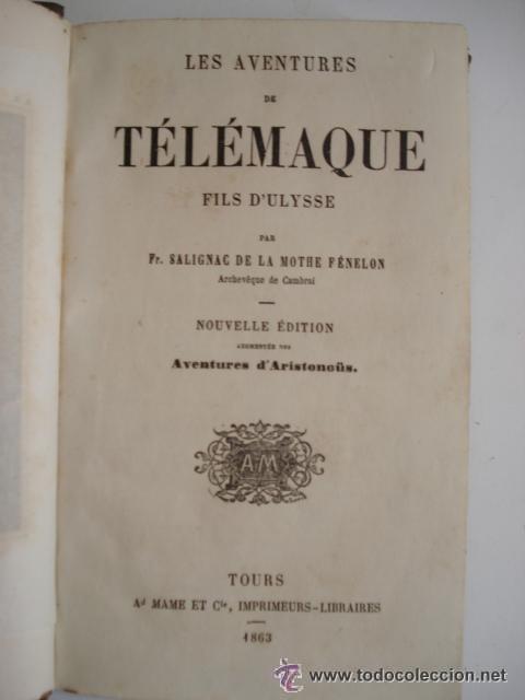 Libros antiguos: LES AVENTURES DE TELEMAQUE FILS D'ULYSSE - 1863 FRANCIA - GRABADOS - Foto 2 - 43980543