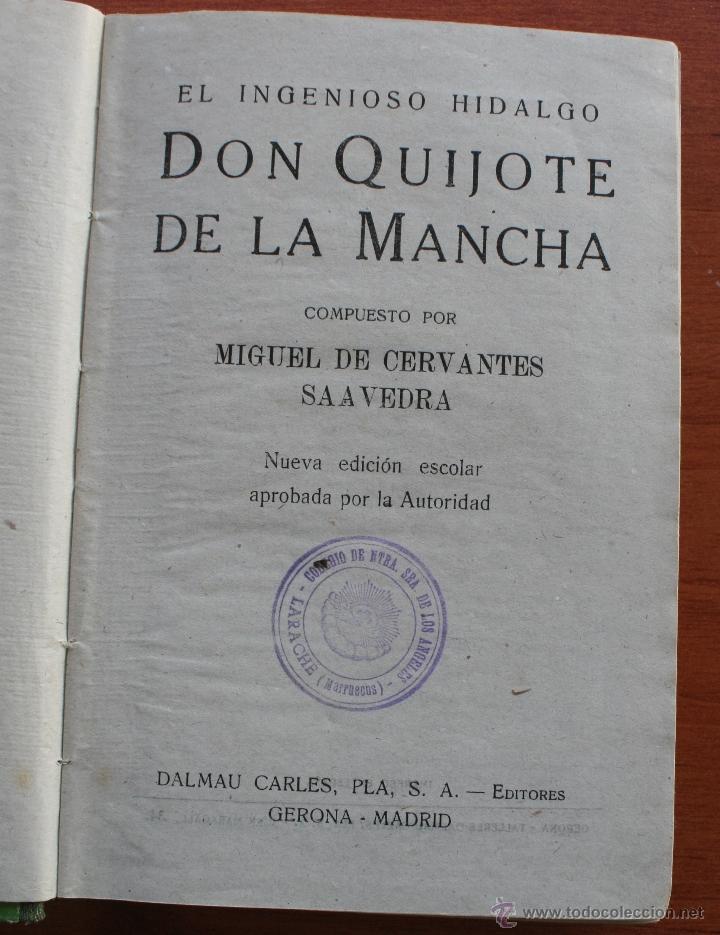 Libros antiguos: DON QUIJOTE DE LA MANCHA - EDICION PARA NIÑOS -DALMAU CARLES EDITORES 1931- DEDICATORIA LARACHE 1949 - Foto 3 - 46862219