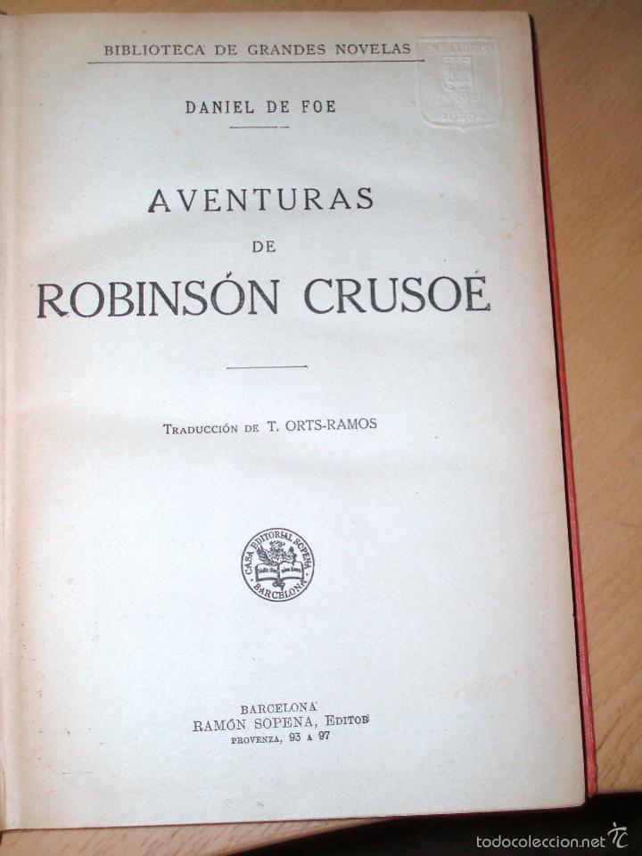 Libros antiguos: Daniel de Foe: Aventuras de Robinson Crusoé, Sopena, - Foto 2 - 57085057