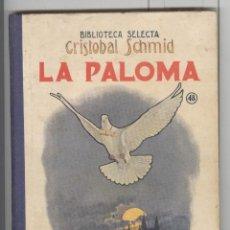 Libros antiguos: BIBLIOTECA SELECTA RAMON SOPENA. 48. C. SCHMID. LA PALOMA. 1936. TAPAS CARTONÉ, PERFECTO. Lote 74368115