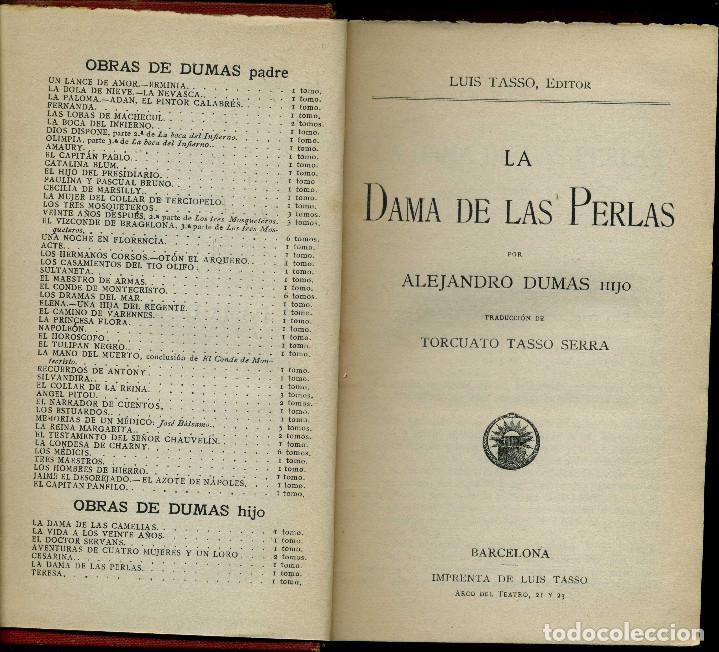 Libros antiguos: LA DAMA DE LAS PERLAS, ALEJANDRO DUMAS HIJO, 172 PÁGINAS, FORMATO 11X18 - Foto 2 - 80529473