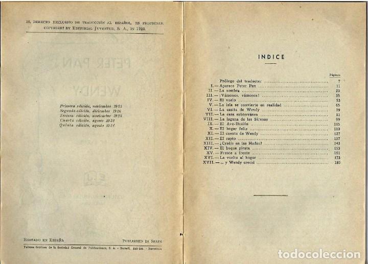 Libros antiguos: VE15- ANTIGUO CUENTO INFANTIL PETER PAN Y WENDY-EL NIÑO QUE NO QUISO CRECER,AÑO 1934 DE J.M.BARRIE - Foto 4 - 96258507