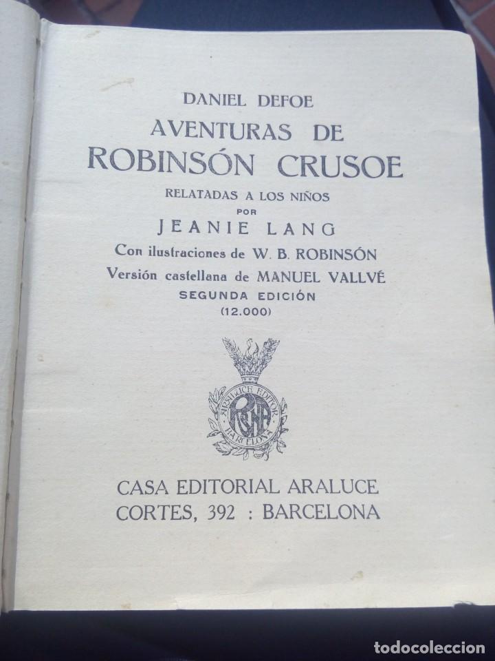 AVENTURAS DE ROBINSÓN CRUSOE ILUSTRADO DE EDICIONES ARALUCE 1914 SEGUNDA EDICIÓN - RARO (Libros Antiguos, Raros y Curiosos - Literatura Infantil y Juvenil - Novela)
