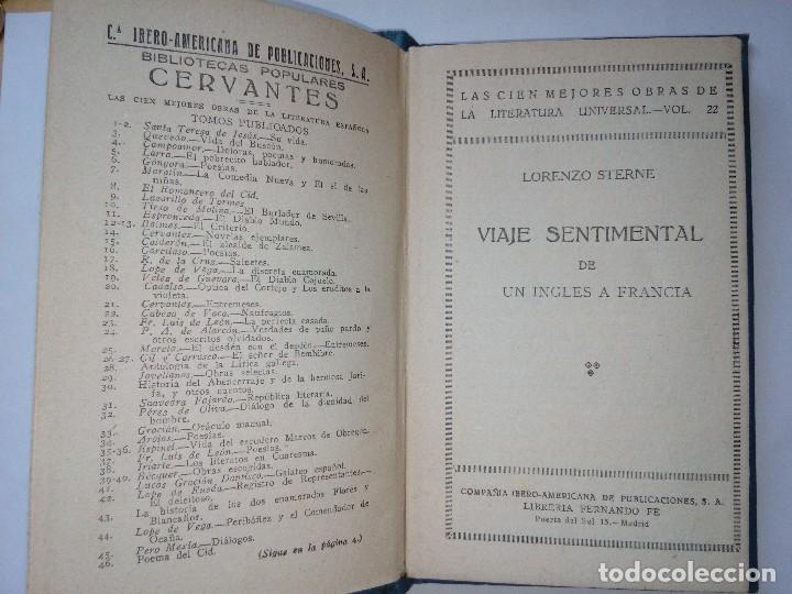 Libros antiguos: Viaje Sentimental de un inglés a Francia de Lorenzo Sterne, Bibliotecas Populares,años 30,vol.22 - Foto 3 - 117285395