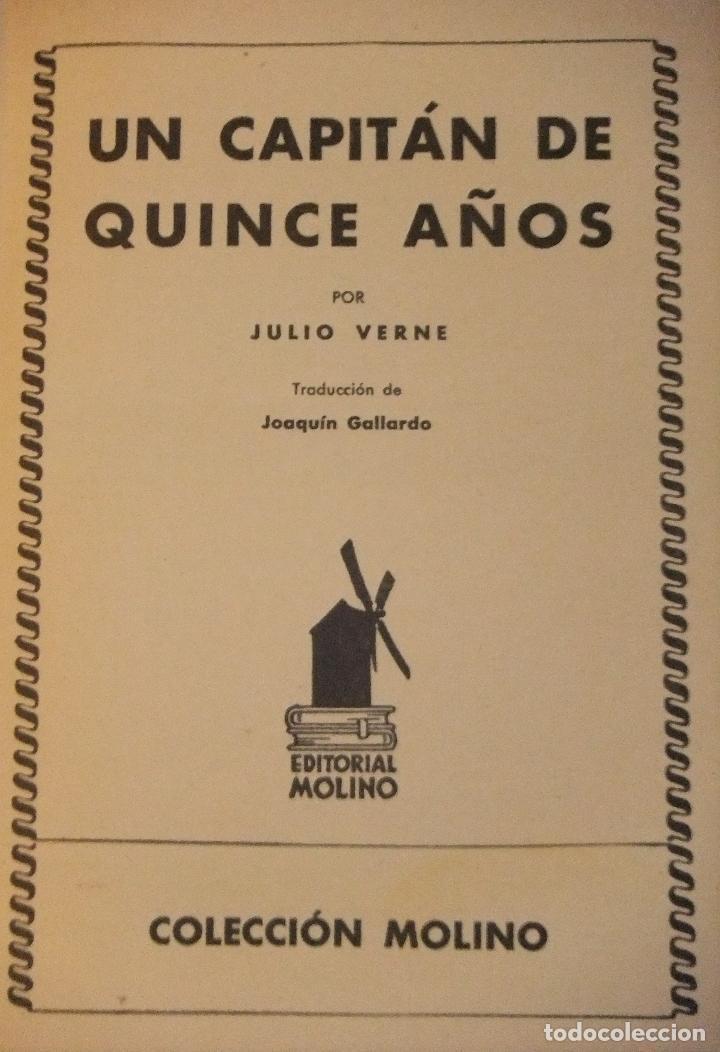 Libros antiguos: UN CAPITAN DE QUINCE AÑOS de JULIO VERNE 1ª EDICIÓN 1934 EDITORIAL MOLINO - Foto 3 - 118894063