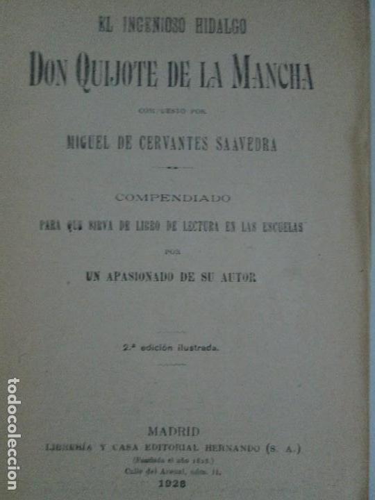Libros antiguos: DON QUIJOTE DE LA MANCHA. PARA USO DE LOS NIÑOS. MIGEL DE CERVANTES. EDITORIAL HERNANDO. 1928. - Foto 8 - 126316883